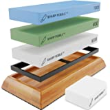 Sharp Pebble Extra Large Sharpening Stone Set - Whetstone Knife Sharpener Set - Grits 400/1000/6000 Waterstone & Flattening S