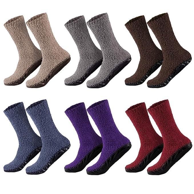 Sockenversandhandel 1 par superweiche Mujer Zapatillas casa Calcetines - Comodidad máxima - con suela de goma - Ideal En Casa - 35 - 38 o 39 - 42: ...