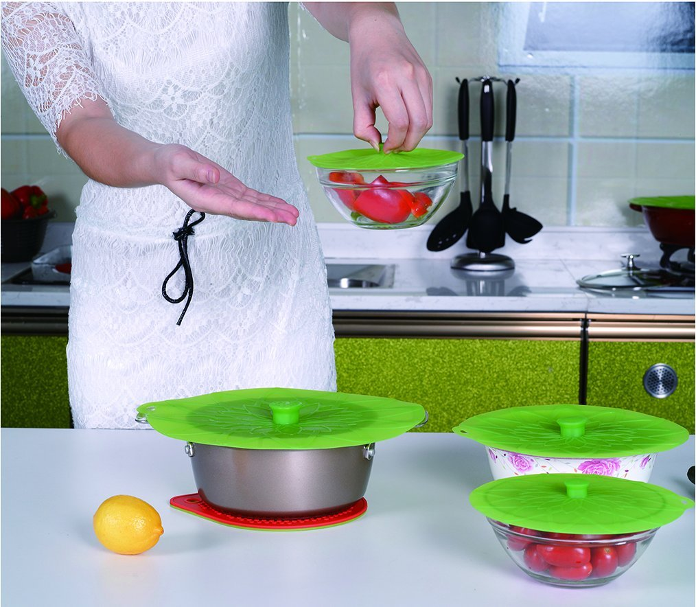 Kuke Silicone Suction Lids Set of 3 Silicone Bowl Lids Reusable Suction Seal Covers for Microwaves Bowls Pots Cups Food Cover (Green) by Kuke (Image #6)