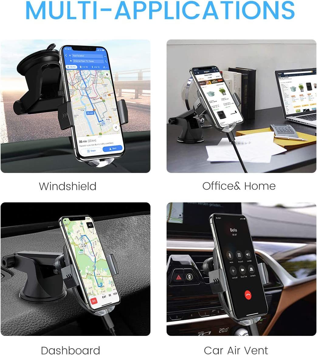 ODOMY Wireless Car Charger Mount Auto Clamping Qi Car Mount Air Vent Phone Holder 10W Fast Charging Compatible with iPhone Xs//Max//X//XR//8//8 Plus,Samsung Note 9//S9// S9+// S8//S8+