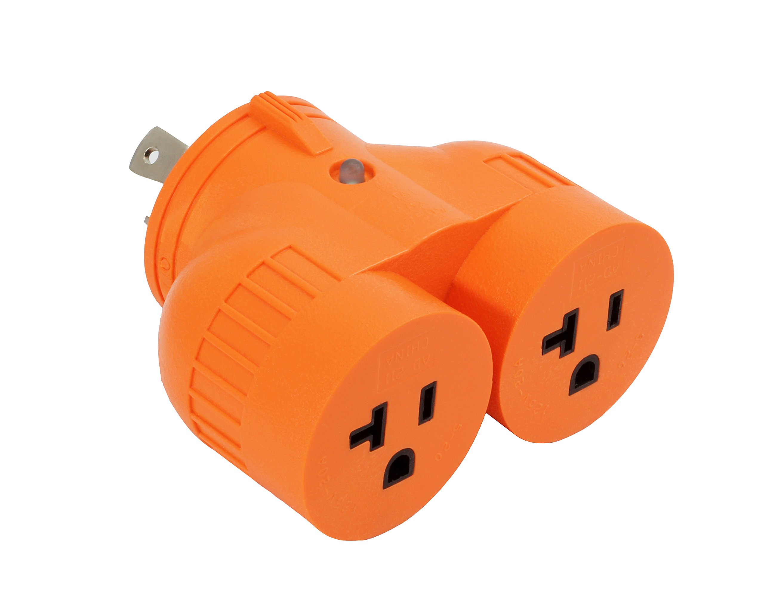 AC WORKS L5-30 30Amp 3-Prong Locking Generator Distribution Cord (L5-30 to DUO 15/20A Household Compact)