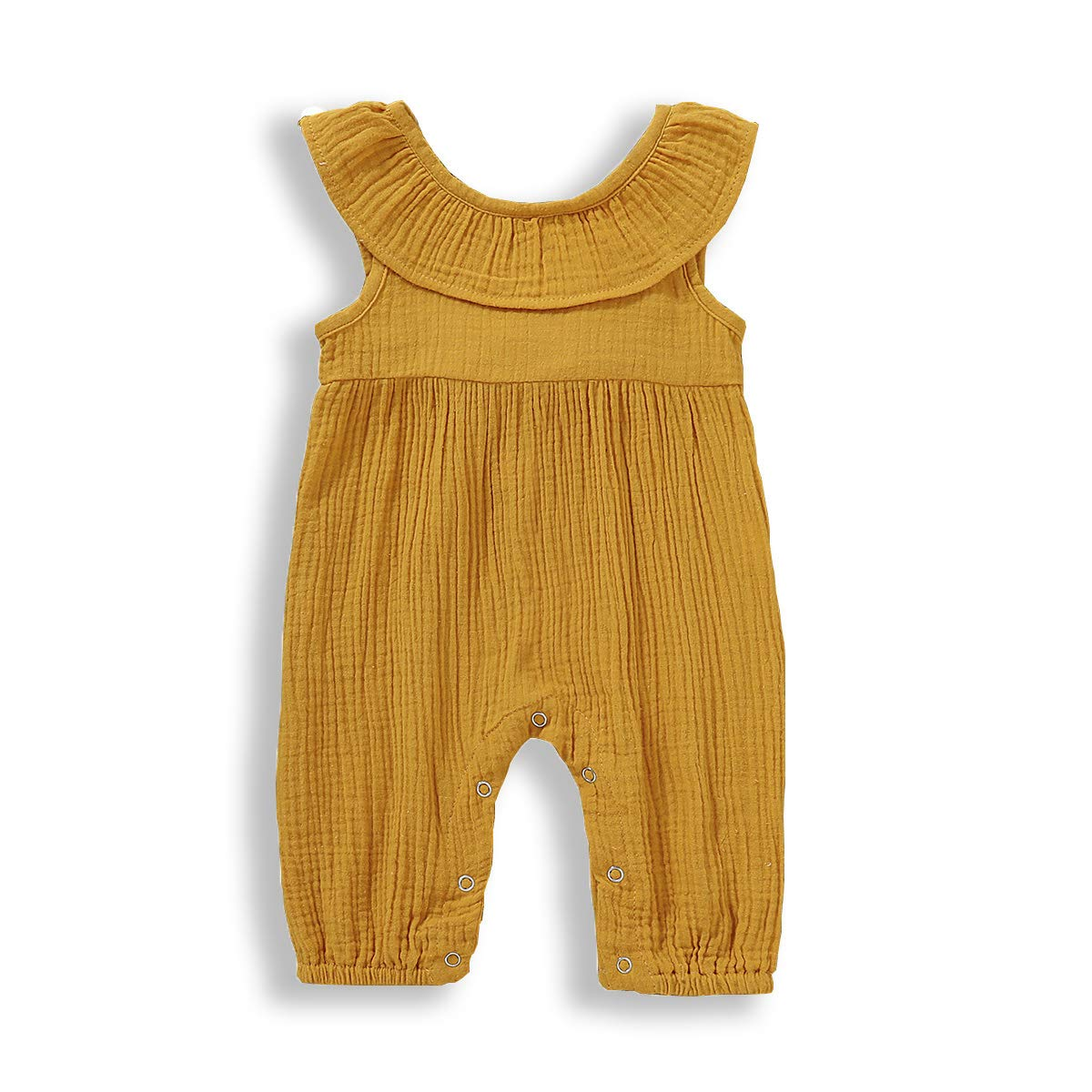 Newborn Baby Girls Summer Bodysuit Round Neck Sleeves Snap Button Lacing Bownot Romper Solid Color Outfits