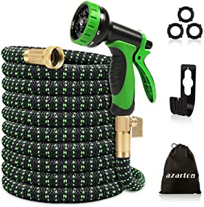 Azarton Garden Hose 75 ft, Expandable Water Hose Durable 9-Layer Latex Core with Strength Fabric 3/4'' Solid Brass Fittings 10 Function Spray Nozzle Light Weight Expandable Hose for Garden Lawn Yard