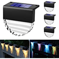 YGOCH Solar Deck Lights, 4 Pack Outdoor Waterproof Led Solar Step Lights, Warm White/Color Changing 2 Lighting Modes…