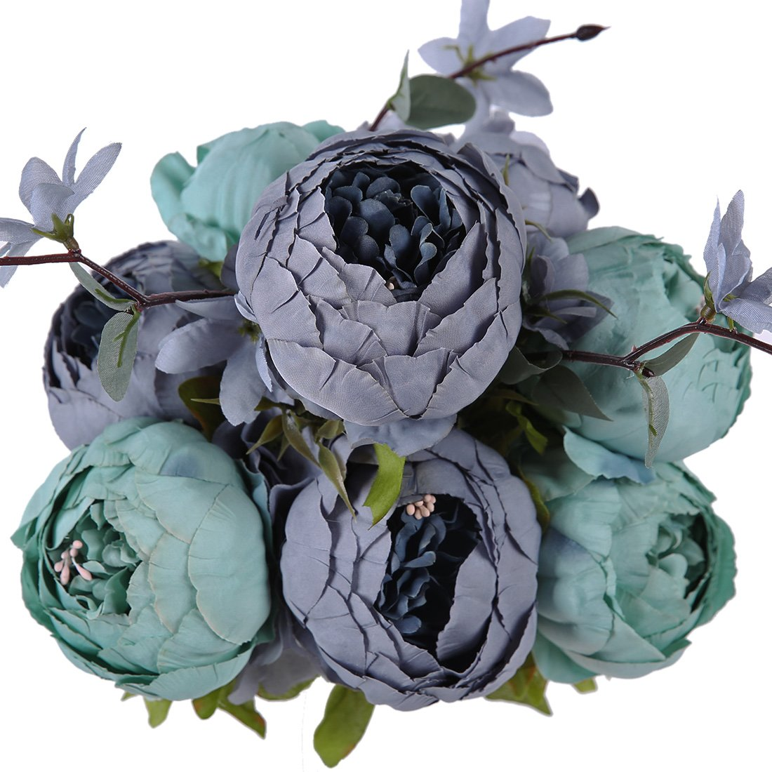 (New Dark Blue) - Luyue Vintage Artificial Peony Silk Flowers Bouquet, New Dark Blue B01M6UL8UO New Dark Blue