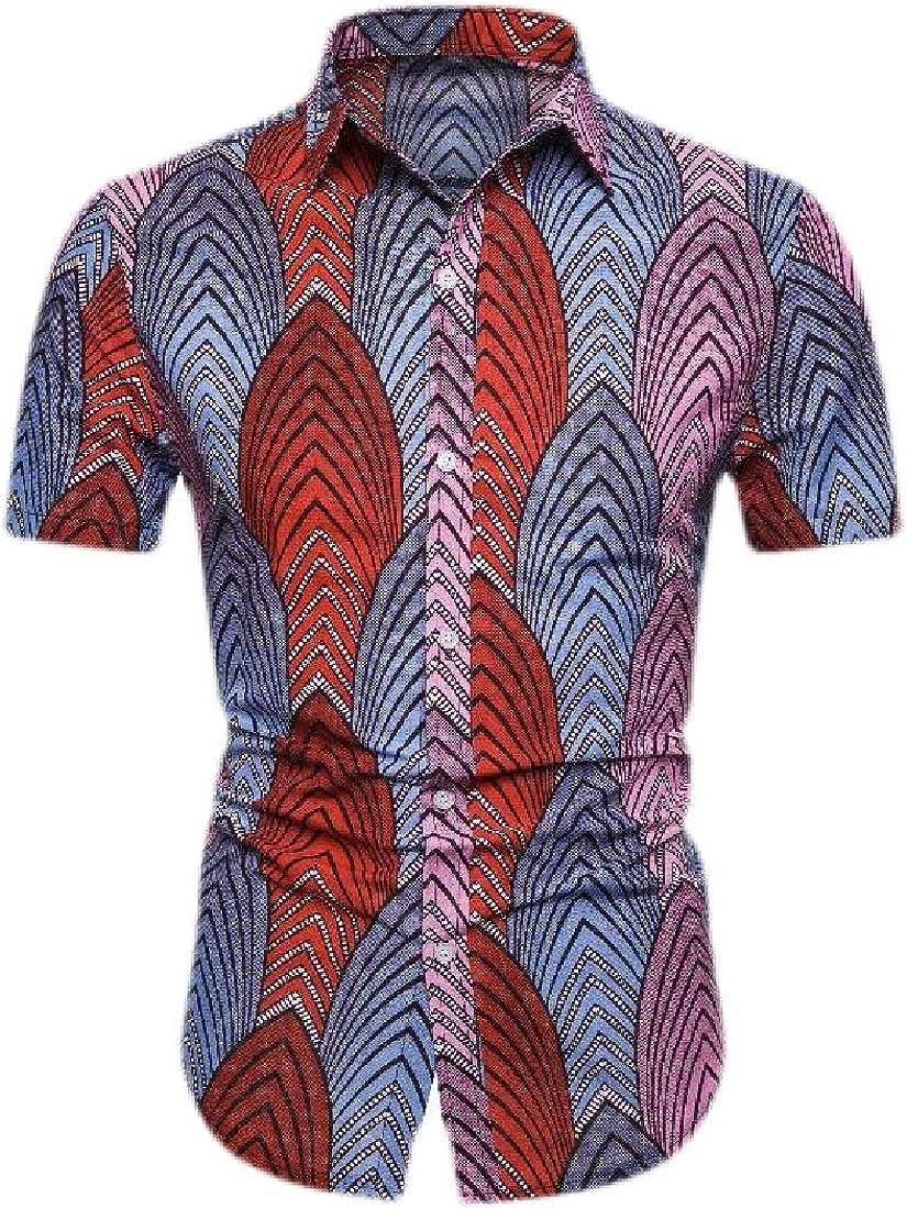 Camisa de Manga Corta para Hombre, Estilo Hipster Africano, Informal, Delgada, con Botones 5 S: Amazon.es: Ropa y accesorios
