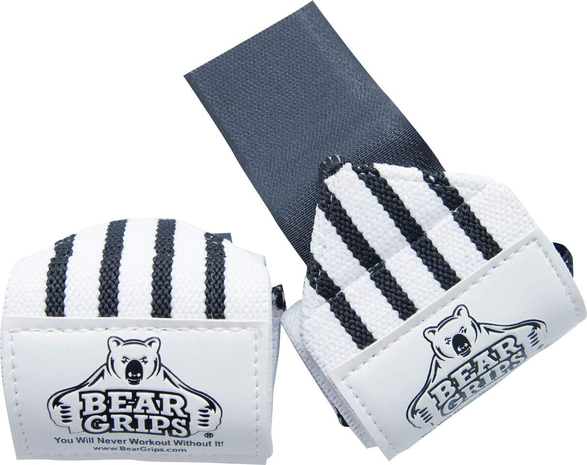 Bear Grips: Gray Series, White Series Wrist-Wraps, Extra-Strength Wrist Support, Wrist Brace for Workouts, wods (White with Black Stripes, 12'', Sold in Pairs, Two Wrist Straps per Pack)
