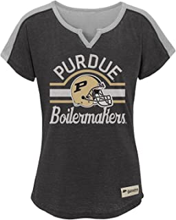 16 Youth X-Large Black NCAA by Outerstuff NCAA Purdue Boilermakers Youth Girls Tribute Raglan Football Tee