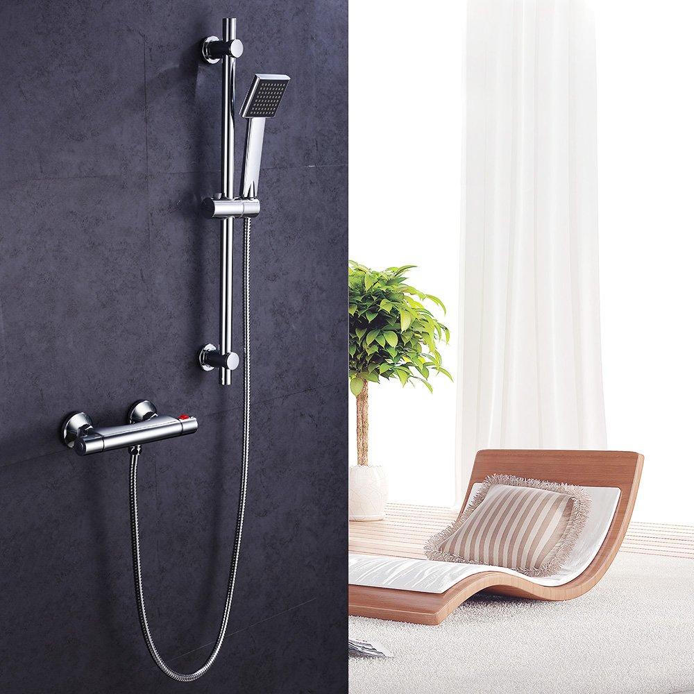 Hausbath Brausestangenset Chrom Duschsystem Set mit Thermostat Duscharmatur Duschset Handbrause Regendusche Dusche Armatur Weisheit