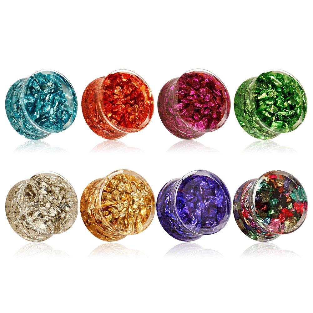 KUBOOZ(8 Color Acrylic Jewelry Colorful Shine-gems Inlaid Ear Plugs Tunnels Gauges 0g to 1 inch LA155