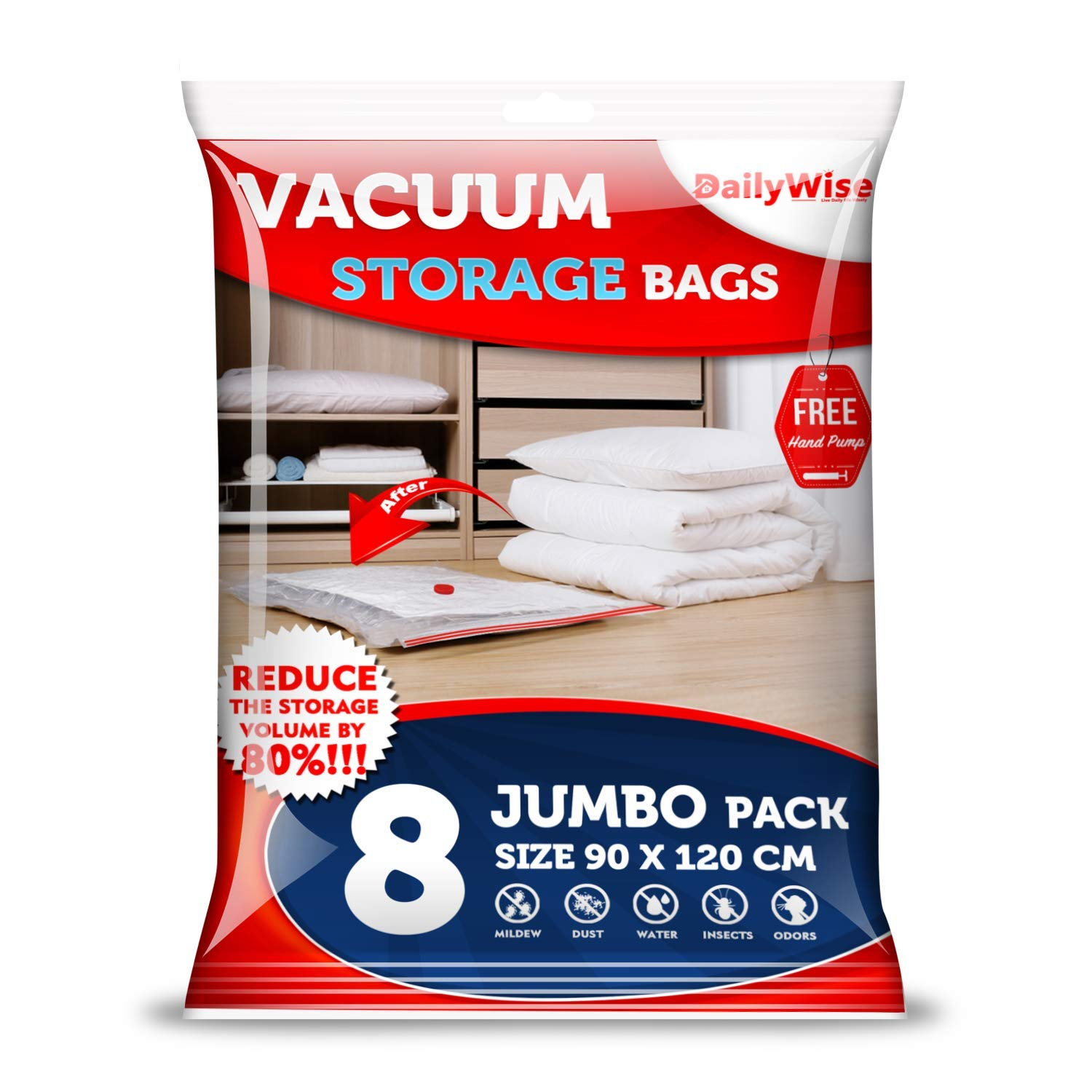 DailyWise Extra Large Vacuum Storage Bags Jumbo 8 Pack (35'' x 47''), Space Bags for Pillows, Duvets, Blankets and Comforters, Lifetime Replacement Guarantee by DailyWise