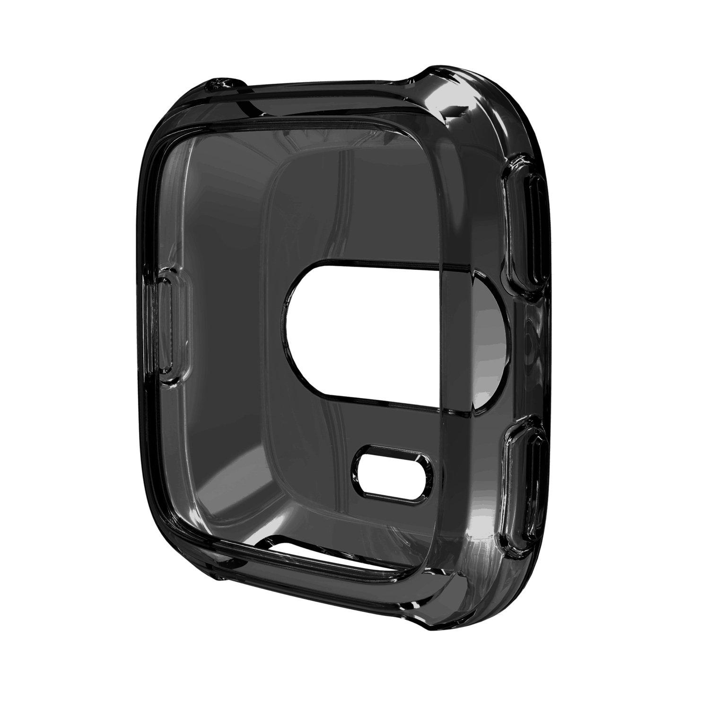 btchoice保護ケースfor fftbit Versa、超薄型ソフトTPU drop-resistanceプロテクターカバーfor Fitbit Versa Fitness Tracker B07C2NW3WJ ブラック