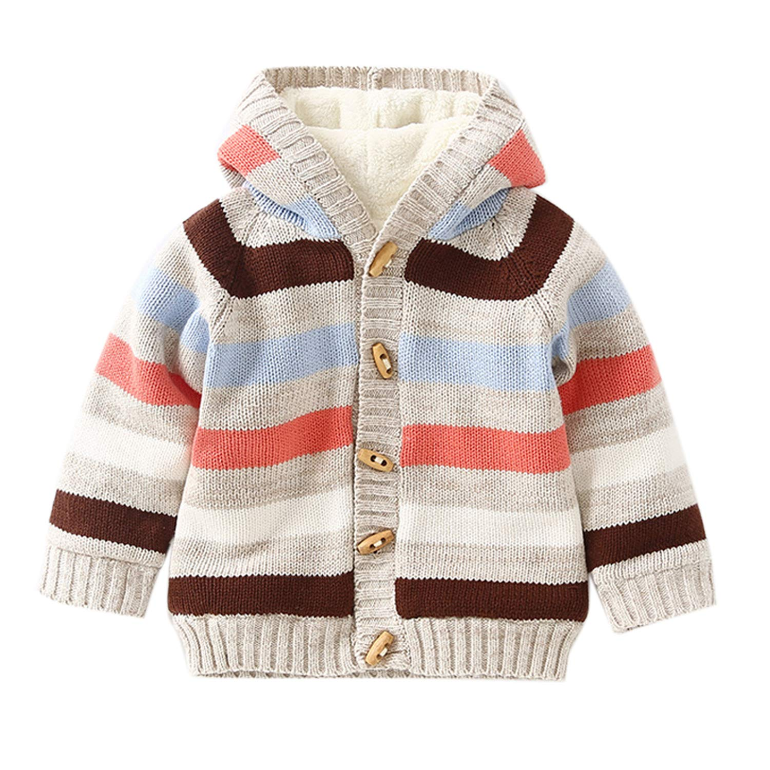 De feuilles Baby Girls Boys Hooded Chunky Knit Cardigan Fleece Warm Striped Sweaters Outwear EB5140