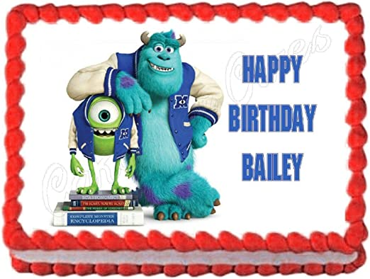 Superb Amazon Com Monsters Inc Monsters University Edible Cake Image Personalised Birthday Cards Veneteletsinfo