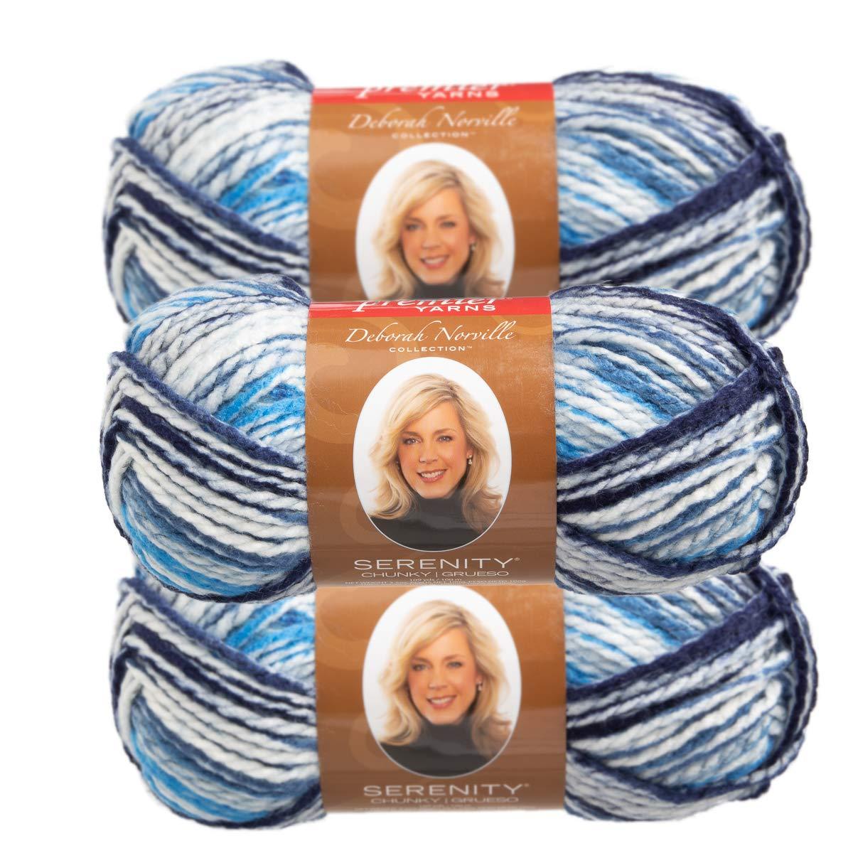 Premier Yarns (3 Pack Deborah Norville Serenity 100% Acrylic Soft Cirrus Light Blue Dark Blue White Yarn for Knitting Crocheting Chunky #5