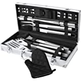 FYLINA BBQ Grilling Set 18-Piece Stainless Steel Utensils Barbecue Tools Grill Accessories with Aluminum Storage Case - Perfect Outdoor Grilling Kit