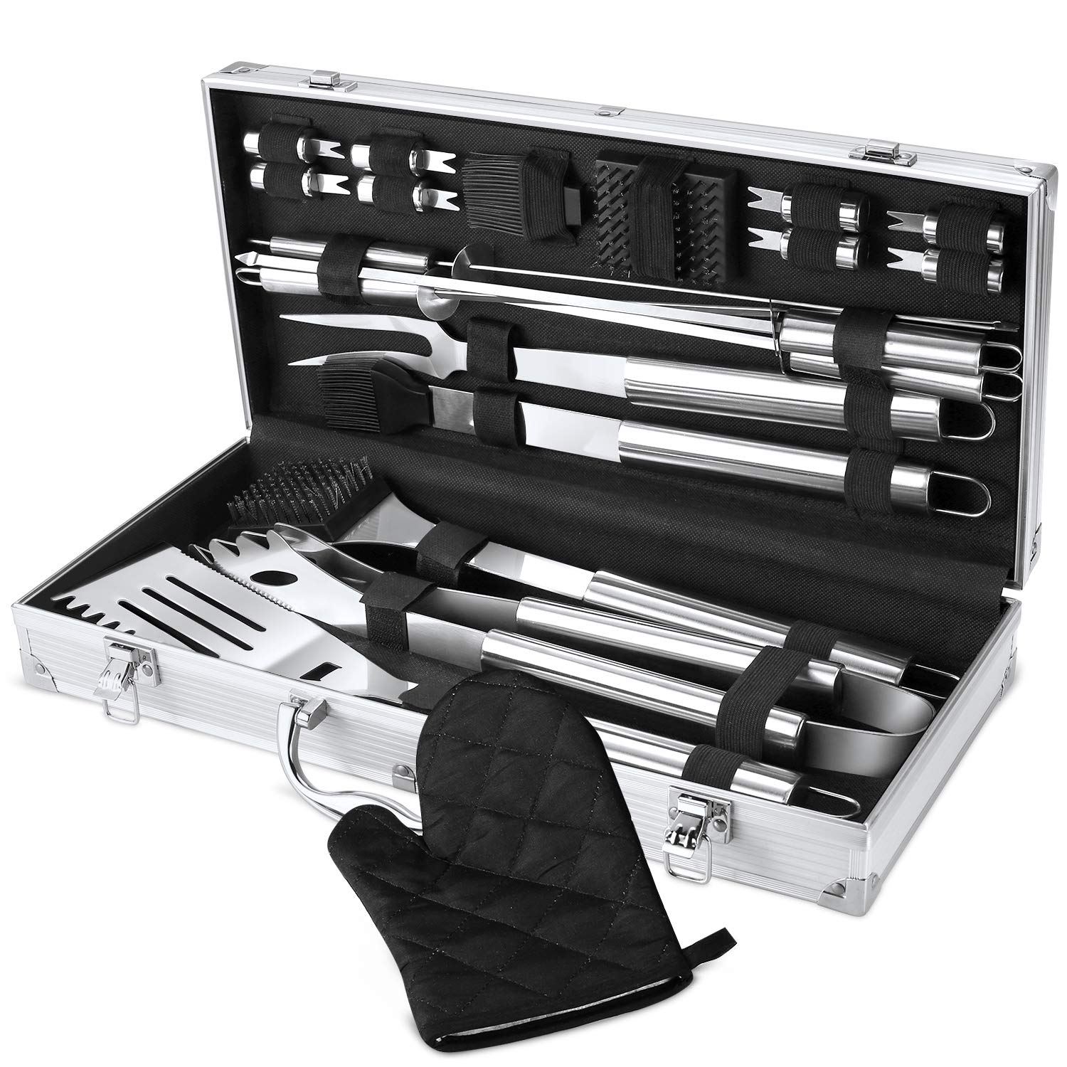 FYLINA BBQ Grill Tool Set 21-Piece Heavy Duty Stainless Steel Barbecue Grilling Tools with Aluminum Storage Case, Premium Grilling Accessories for BBQ – Spatula, Tongs, Forks, and Basting Brush