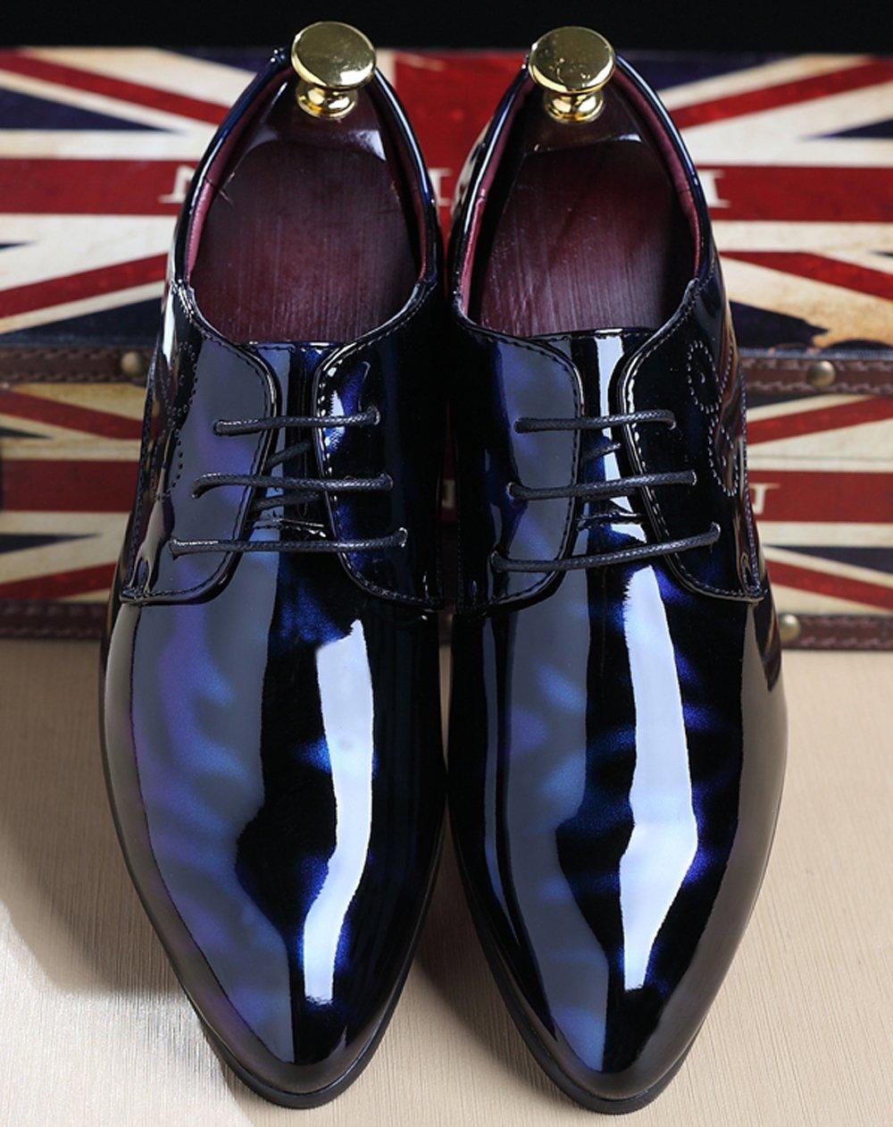 dde0cd78688d Santimon Black Dress Shoes for Men Pointed Toe Floral Patent Leather Lace  up Oxford Black Blue