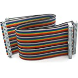 Antrader 2 Pieces 2.54mm Pitch 50 Pin 50 Way F/F Connector IDC Flat Rainbow Ribbon Cable 1ft 30cm