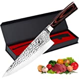 Damascus Chef Knife - imarku 8-inch Kitchen Knife Premium Cladding Cooking Knife HC Japanese Stainless Steel Knife for Meat a
