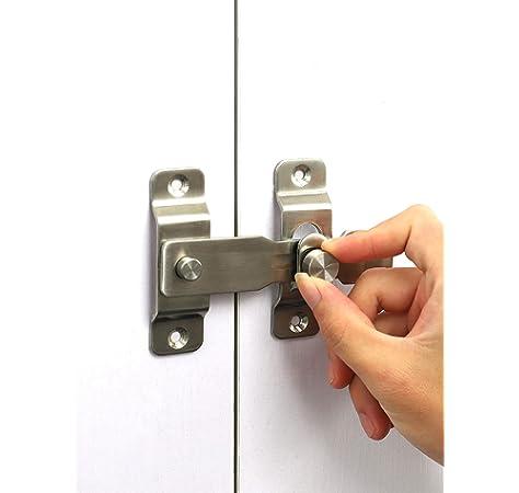 MING Cerradura de puerta de ángulo recto giratoria de 90 grados, cerradura de leva, cerradura de puerta deslizante y cerradura de puerta de granero: Amazon.es: Bricolaje y herramientas