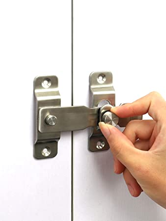 Cerradura de puerta resistente de acero inoxidable con pestillo abatible Con tornillos de fijación,superficie de acero inoxidable cepillado