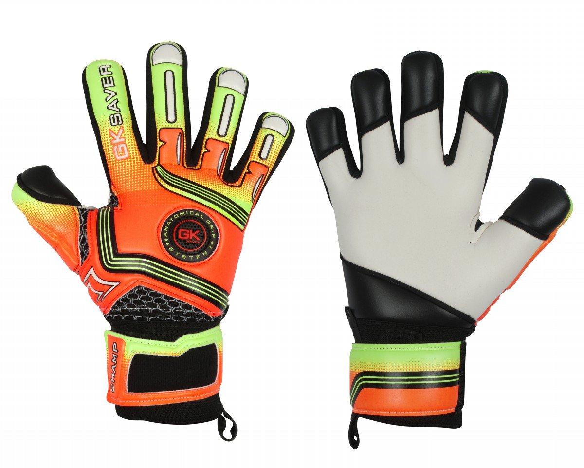 サッカーゴールキーパーグローブGKセーバーChamp 01オレンジ負カットGoalie Gloves B07BTN77RKYes Fingersave NO Personalization Size 5