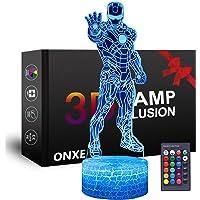 LED Superhero 3D Nachtlampje, ONXE Optische Illusie Lamp 16 Kleuren Dimbare USB Aangedreven Touch Control met Crack Base…