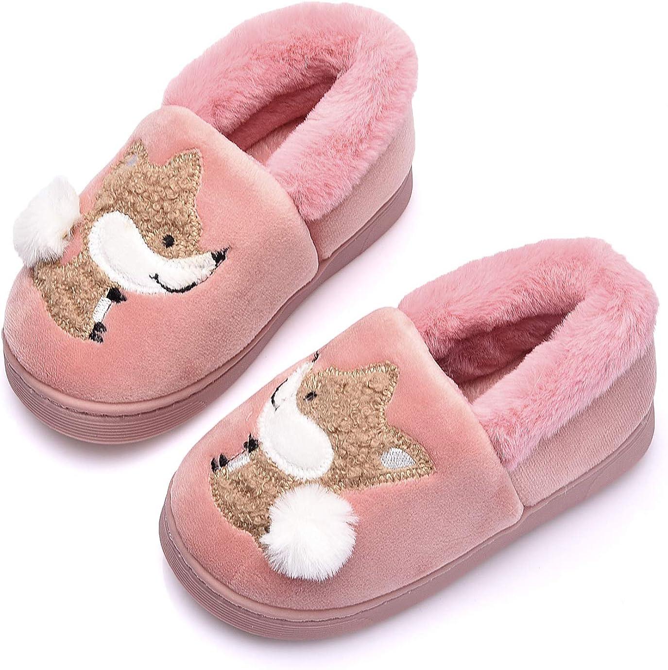 Ainikas Toddler Boys Girls Slippers Fluffy Little Kids House Slippers Warm Fur Cute Animal Home Slipper