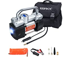 GSPSCN Portable Digital Car Tire Inflator with Gauge 150Psi Auto Shut-Off, Heavy Duty Double Cylinders 12V Air Compressor Pum