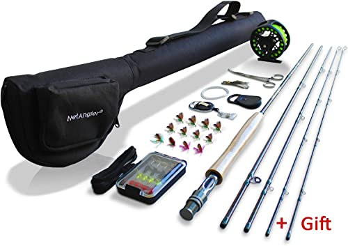 NetAngler Fly Fishing Rod and Reel Combo 4-Piece Fly Fishing Rod 5wt Aluminum Fly Reel Complete Starter Full Kit
