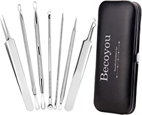 Becoyou 7Pcs Stainless Steel Pimple Extractor Kit Blackhead Remover Tool, Pimple Popper Kit Blackhead Comedone Extractor Tool Blackhead Tweezers Acne Tool Kit, with High-end Customized Leather Bag