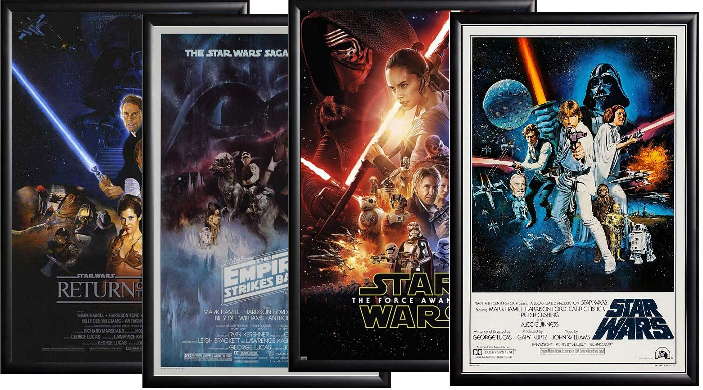 Star Wars Episodes IV - VII Movie Posters Framed (Black)