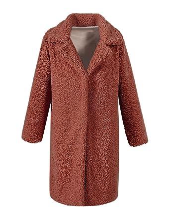 8a3c927b74c Beauty7 Manteau Femme Veste Hiver Chaud Polaire teddy Faux Lambswool Jacket  Poche Col de Costume Grande Taille Parka  Amazon.fr  Vêtements et  accessoires