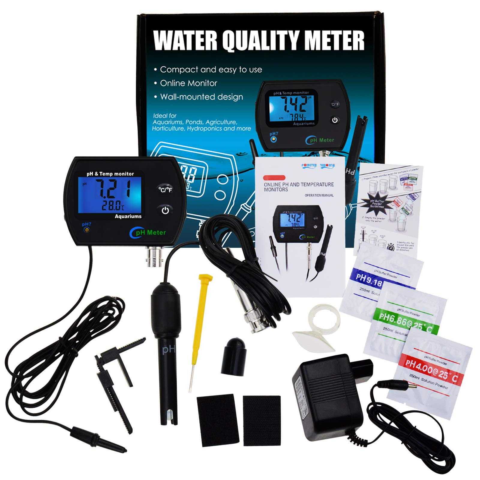 2-in-1 Combo pH & Temperature Meter Water Quality Tester Replaceable BNC pH Electrode for Aquariums Hydroponics Tanks Aquaculture Laboratory by DANOPLUS (Image #4)