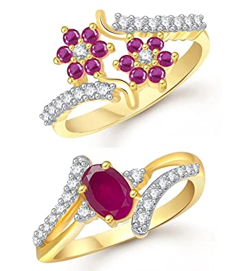 Buy Meenaz Jewellery bo Traditional Gold Plated Ruby Red Rings