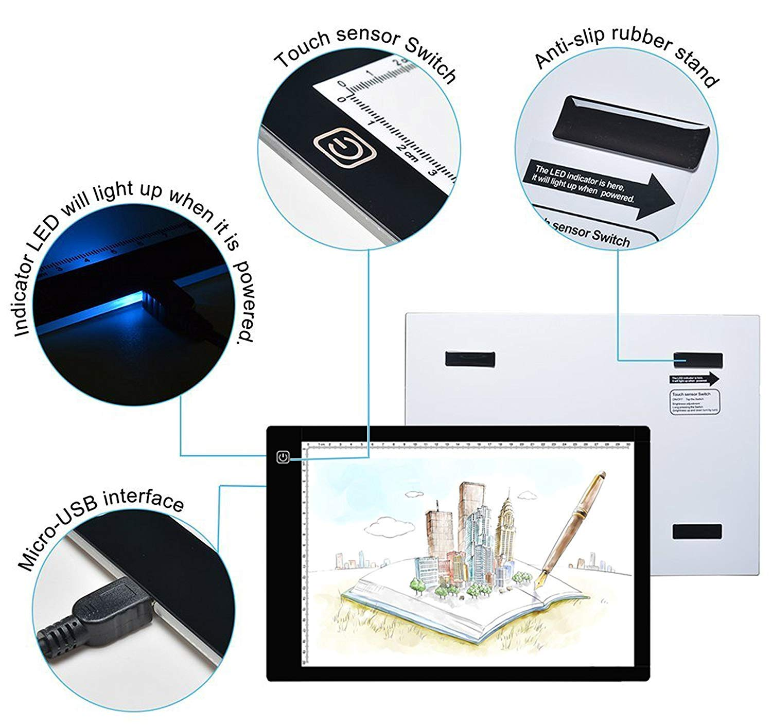 Ultra-Thin Led Light Box Tracer LED Artcraft Tracing Light Pad Dimmable Brightness Light Board with Case for Artists Drawing Quilting Diamond Painting Calligraphy A4 Light Box Weeding Vinyl
