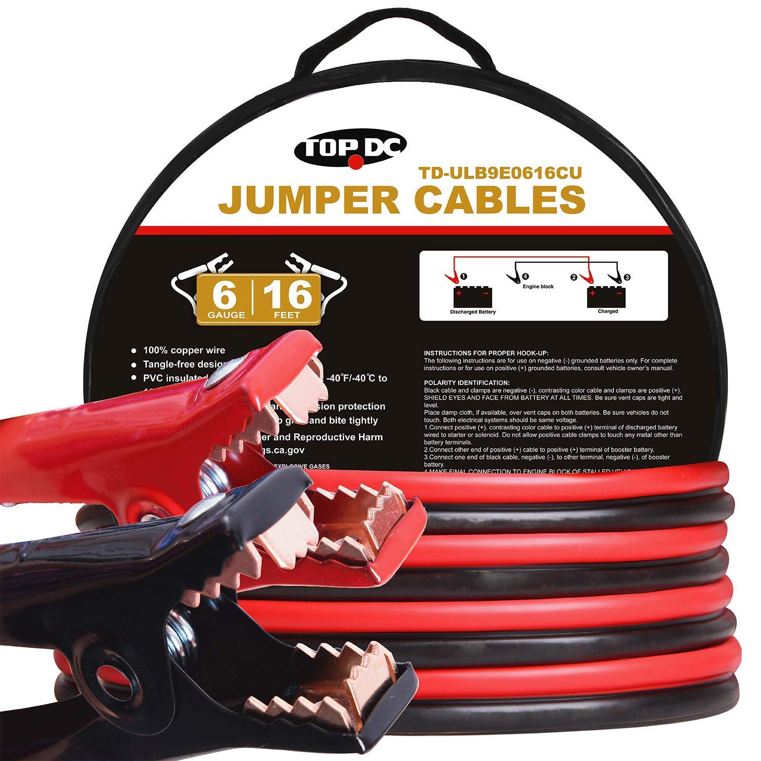 TOPDC 100% Copper Jumper Cables 6 Gauge 16 Feet 450Amp Heavy Duty Booster Cables with Carry Bag and Safety Gloves (6AWG x 16Ft) by TOPDC