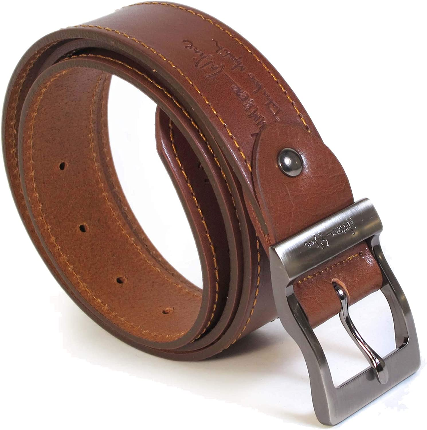 Mens Real Genuine Leather Tan Brown Belt 1.5 Wide S-XL Thick Casual Jeans UM4