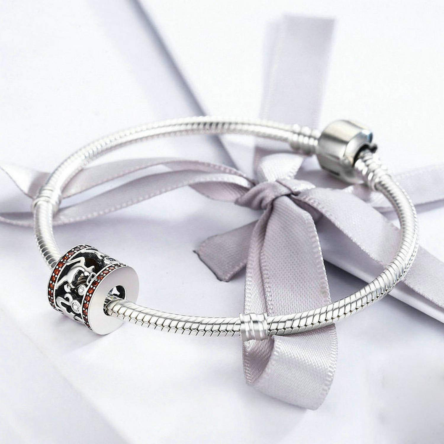 Evereena Silver Beads Bracelet for Girls Sweet Memory About Christmas Elk Santa Claus Womens Jewelry