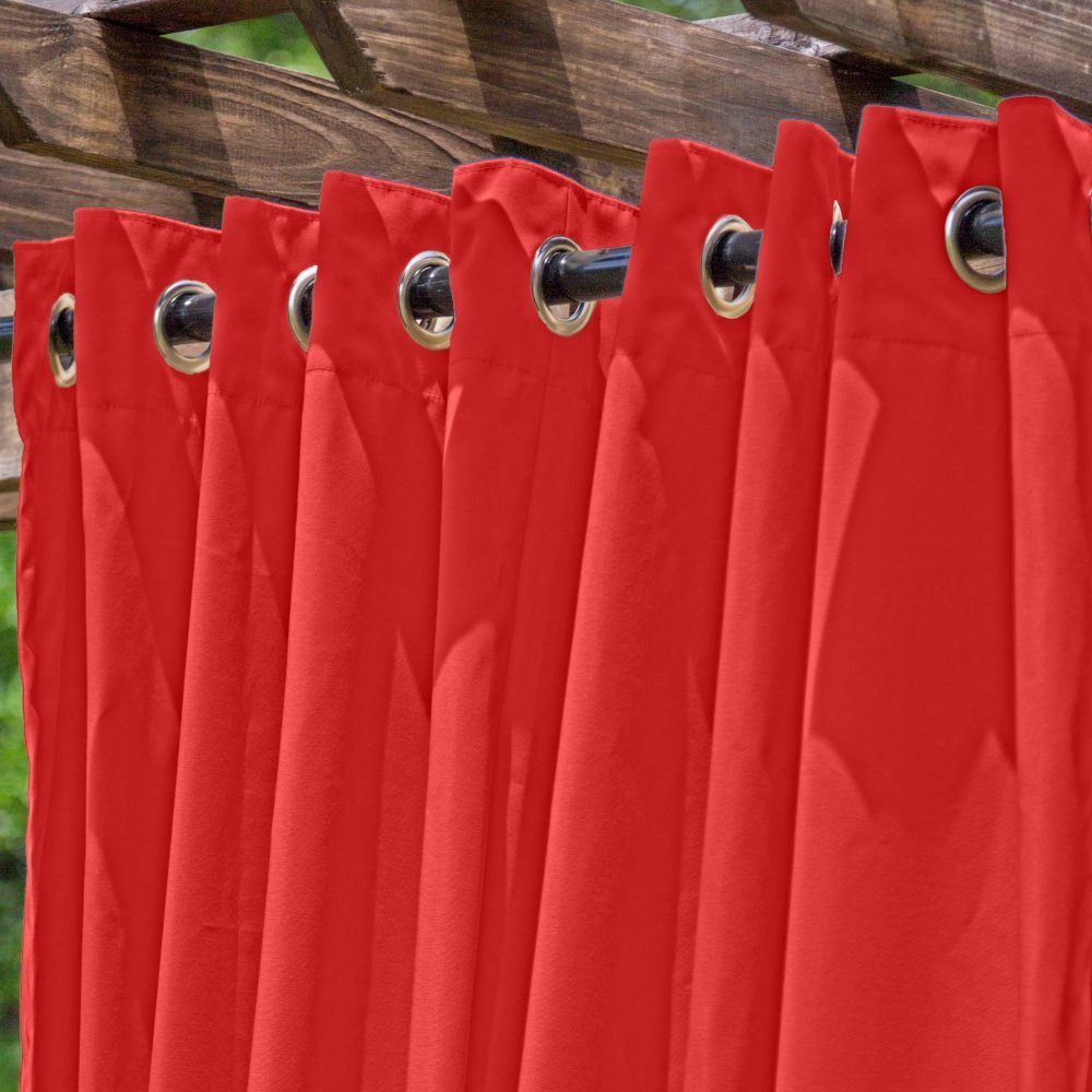 DFOHome Red Extra Wide Outdoor Curtain with Nickel Grommets 120'' W x 96'' L by Essentials by DFO