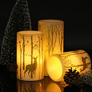 GenSwin Battery Operated Flameless Candles Flickering with 6 Hours Timer, Led Pillar Candles Deer Decal Warm Light, Real Wax Pack of 3 Christmas Home Decor