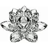"""4"""" Amlong Crystal Clear Crystal Lotus Flower With Gift Box"""