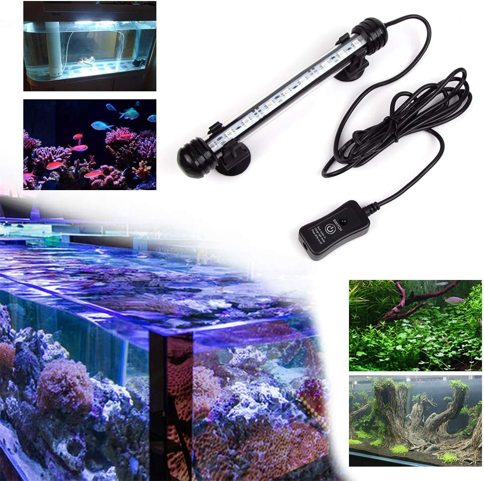 LED Aquarium Light Fish Tank Light Waterproof Remote Control Underwater Submersible LED Lights Strip RGB Color Changing Brightness Adjustable