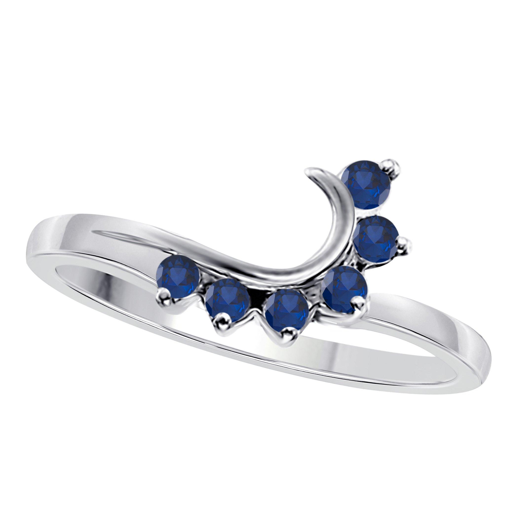 Star Retail 14K White Gold Finish Round CZ Blue Sapphire Wedding Band Enhancer Guard Double Ring