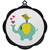Maydear Full Range of Embroidery Starter Kits Stamped Cross Stitch Kits Beginners for DIY Embroidery - Birds and Elephants