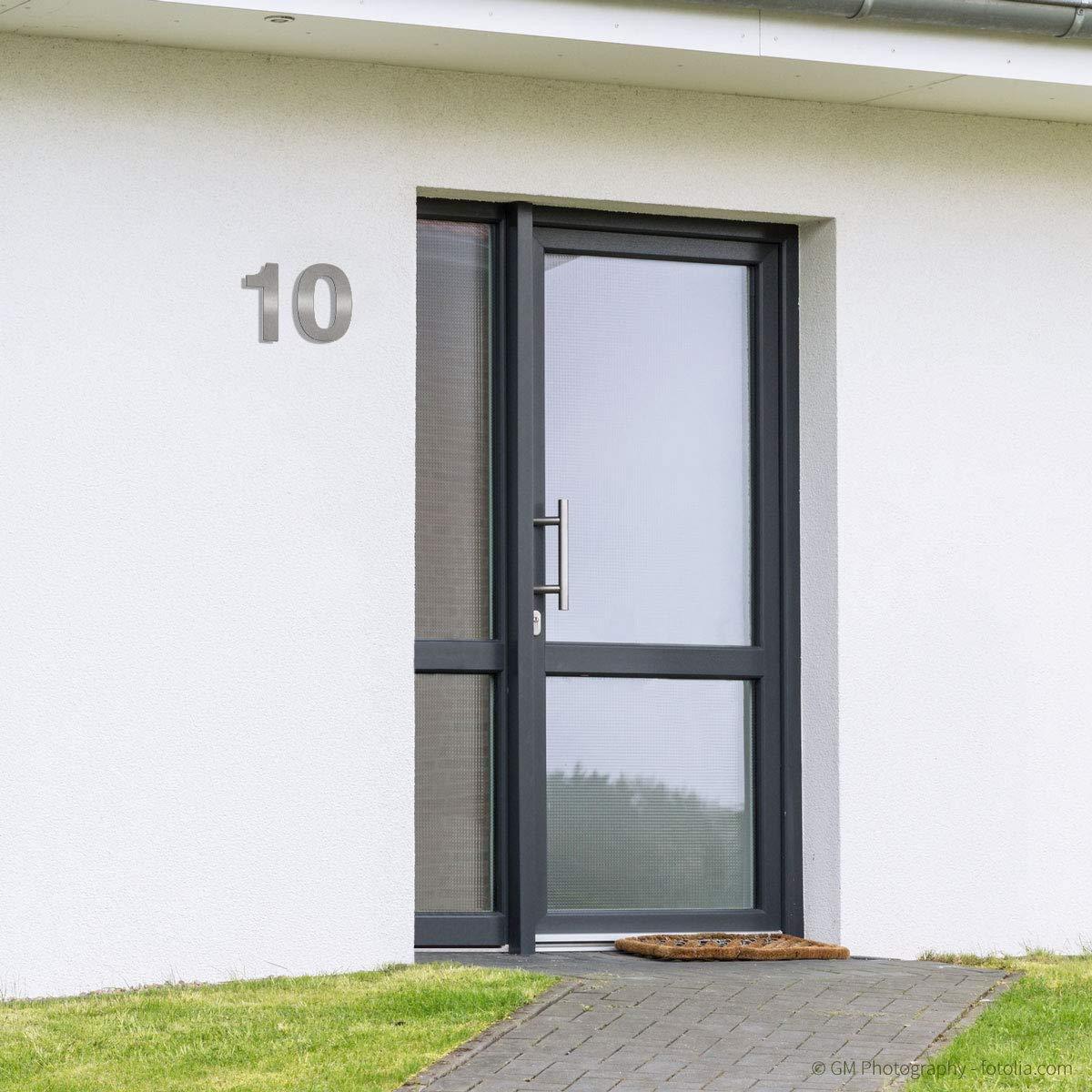 inkl 4 fein geb/ürstet Montagematerial//H: 300mm // Farbe: silber 30cm Thorwa/® Design Edelstahl Hausnummer