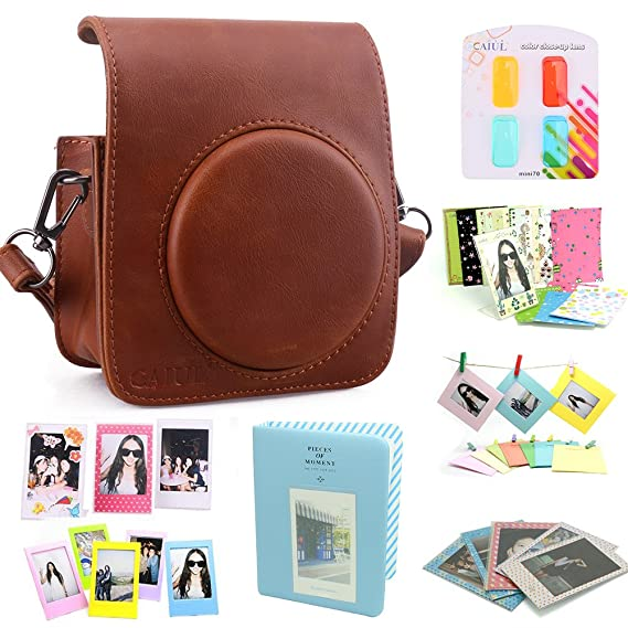 Caiul Compatible Mini 70 Camera Case Bundle With Album, Filters & Other Accessories For Fujifilm Instax Mini 70 (Brown, 8 Items) by Caiul