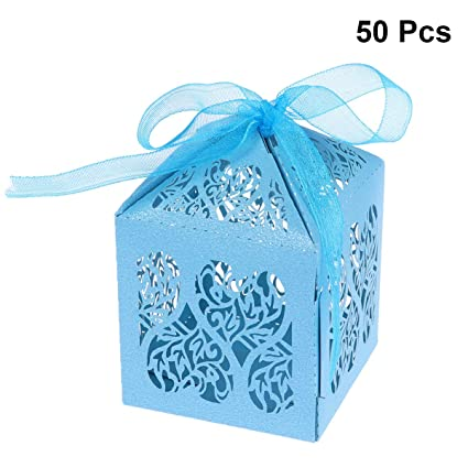 STOBOK Cajas de Caramelos de Papel Hueca de Flores con Cintas para Bombones Dulce Chocolate Cajas