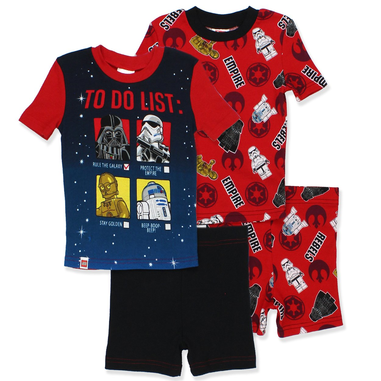 26c626a848 100% Cotton Lego Star Wars boys 2fer 4 piece pajamas sleep set. Ribbed-knit  contrast color collar; Double stitched hems; Elastic waist